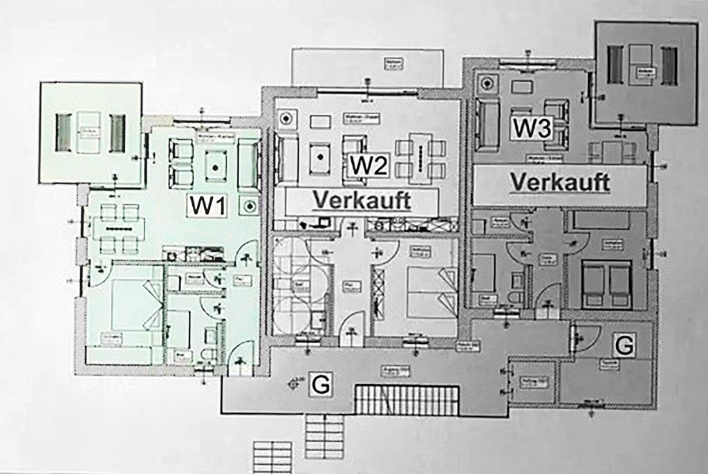 Grundriss der 2-Zimmer Eigentumswohnung in Koblenz-Lay.