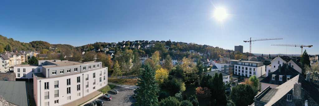 Ausblick von Höhe der Dachgeschosswohnung in Vallendar.