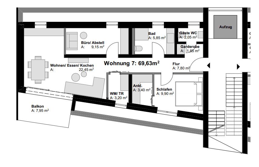 Grundriss der Eigentumswohnung 7 in Vallendar.