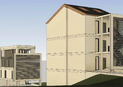 Nord-Ost-Ansicht des Gebäudeskomplexes mit 9 Eigentumswohungen in Vallendar.