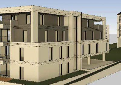 Sued-Ost-Ansicht des Gebäudeskomplexes mit 9 Eigentumswohungen in Vallendar.